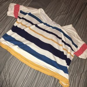 Striped short sleeve crop top - size large